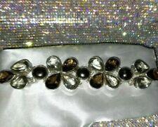 925 Sterling Silver Green Amethyst, Smokey Quartz & Pearl Bracelet, 7 1/2