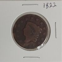 1822 US LIBERTY Coronet Large Penny One Cent Coin Circulated US Currency 50121C