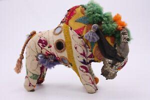"Hand Woven Cotton India Folk Art Mirrors Buffalo Bull 5"" Vtg Antique Embellished"