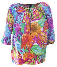 Ralph Lauren 3x Multi Color Floral Print 3/4 Sleeve Shirt NWT FREE SHIPPING Plus