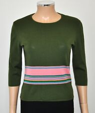 VTG AVAGOLF Olive Green & Pink Striped 100% Merino Wool Sweater - Sz XS