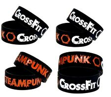 Wide Band CrossFit Steampunk Silicone Wristband Sport Bracelet