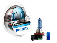 (FREE T10 PARKERS) H11 PHILIPS CRYSTAL VISION 12V 55W 4300K WHITE HALOGEN BULBS