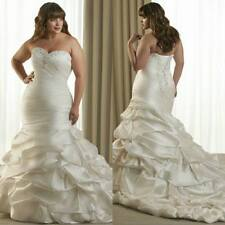 Plus Size White/Ivory Long Mermaid Wedding Dress Sweetheart Lace Up Bridal Gown