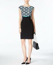 Connected Petite Printed Cap-Sleeve Sheath Dress size 10p