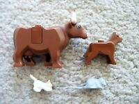 LEGO City Town Farm Animals - Rare Original - Cow Dog Cat & Rat