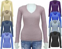 Ladies Women KNITTED Long Sleeves Skinny Jumper Sweater Ribbed Top T-Shirt S M L