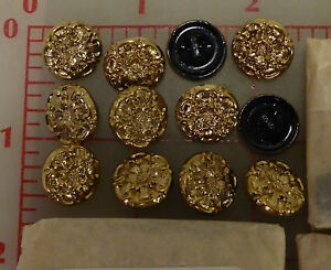 "2 Vintage Glass Buttons Dark Gold Color Flower Design Czechoslovakia 1/2"" #64"