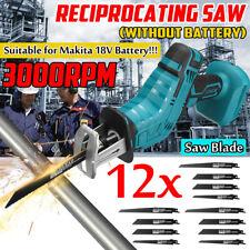 Cordless Reciprocating Saw Saber Saw 3000rpm For Makita 18V Battery + 12 Blades