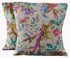 "SET OF 2 INDIAN HANDMADE KANTHA WORK 16X16"" COTTON CUSHION COVER ETHNIC LIVING"