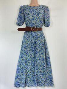 BNWT NEXT blue green bloom floral print chiffon midi dress with belt size 8 eu36