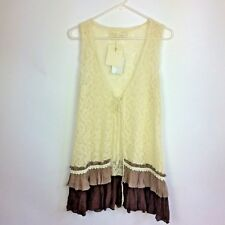 A'REVE Large Long Vest Ivory Lace Brown Ruffled Hem Front Lace Tie NWT