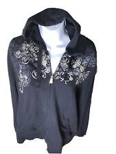 Fashion Bug Women Black Embellished Floral Zip Up Hoodie XL