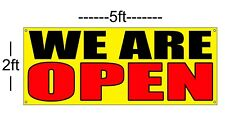 We Are Open Banner Sign Yellow with Red & Black 2x5 vinyl banner 13oz
