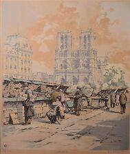 "Frederick Halpern Original Etching ""Paris Bouquinistes"", LE 5/25 Signed & FINE!"