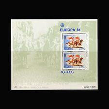 PORTUGAL - AZORES, Sc #322a, MNH, 1981, S/S,  Europa, Calvacade, CL140F