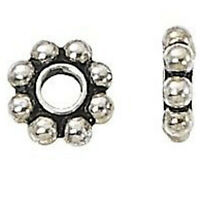 50pcs Tibetan Silver Daisy Metal Spacer Beads 6mm for Jewelry Making C7Q9