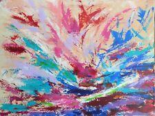 """TABLEAU ABSTRAIT, art contemporain, peinture paysage signé HZEN """"MISTRAL"""" 61x46"""