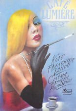 Original Vintage Poster Polish Sultry Blond Bombshell French Cinema Coffee 1990