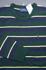 Polo Ralph Lauren Men's Crew Neck Lambswool Olive/Navy Striped Sweater M