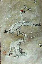 Debbi Chan Watercolor on Silk with Embroidered Fighting Crane unframed