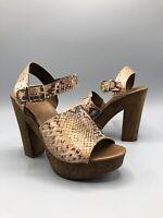 Next Sandals Heels Platform Shoes Size 6 Uk 39 Eur Brown Faux Snake Ankle strap