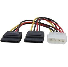 Molex to sata power y splitter câble adaptateur plomb 4 broches à 2 x 15 pin serial ata