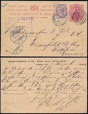 Gb Qv Stationery 1901 Upu 1d Uprated London Fs9 Foreign to Germany Oscar Moenich