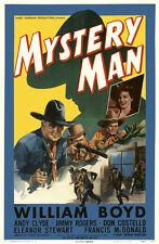 WESTERN HOPALONG CASSIDY MYSTERY MAN W. BOYD ONE SHEET ORIGINALE ENTOILEE 1944