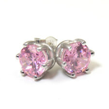 Earrings 6 Claw Pink Sapphire 2ct Diamond Unique Solitaire Solid 9ct Gold Studs