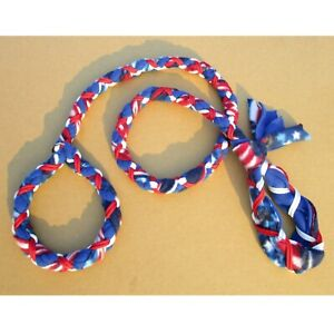 Handmade Dog Leash Fleece and Paracord Slip-Lead US Flag over Blue w White/Red