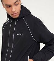 Nicce Mens Linear Jacket-Black/Mirage Blue