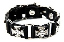 Biker Bracelet Celtic Cross Studded Cuff Real Leather Punk Buckled Bike Bracelet