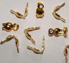 LOT de 100 CACHE NOEUDS à plier avec anneau EMBOUTS 8x4mm DORE création bijoux