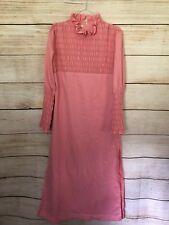 Pink Vintage Prom Dress Smocking Long Side Slits Med/ Large Fit Retro High Neck