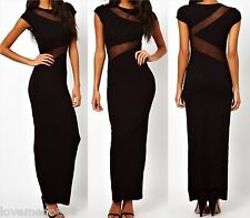 WOMENS Party Club Evening Mesh Patch See Through LONG Maxi Bodycon Dress MEDIUM