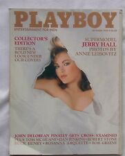 Original Playboy Magazine October 1985 Jerry Hall, First Non Stapled Issue