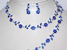 Bridal 3PC Set Silver With Blue Flower Rhinestones Necklace, Earrings, Bracelet