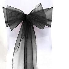 1-100 PREMIUM QUALITY WEDDING CHAIR COVER FULLER BOWS ORGANZA SASH TIE DECOR