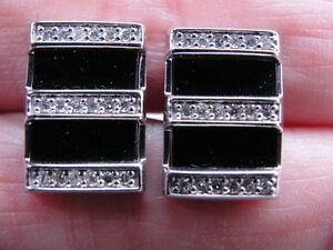 Estate 14K White Gold Rectangular Cufflinks with Diamonds & Black Onyx