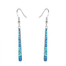 Blue Australian Fire Opal Lattice Dangle Earrings Hook 10Kt White Gold Filled