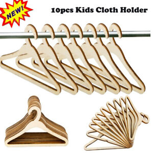 1-100 pcs Wooden Hangers Pack Hangers Natural Finish Kid Children Cloth Holder