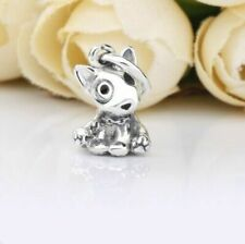 Newest 925 Sterling Silver Bull Terrier Puppy Pendant HANGING Charm