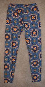 LuLaRoe OS Leggings Blue Orange Circles Rings Pants One Size