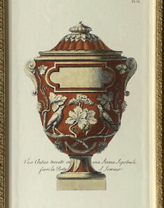 Antique SET of 2 Stunning Authentic Vase Engravings  Ornate Gold Frame Ex. Cond