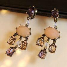 Boucle d`Oreille en Clip Chandelier Vintage Rose Violet Super Mignonne Cadeau J3