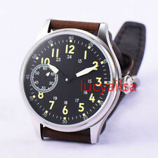 Parnis 44mm Luminous Black Dial hand winding unitas 6497 Movement Mens Watch
