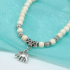 Vintage Natural Turquoise White Beads Tibet Silver Elephants Bangle Bracelet