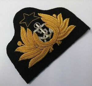 Genuine Naval Issue Insignia Braided Officers Gold Wire Dress Hat Badge GIM22