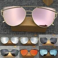 Women's Flat Lens Mirrored Metal Frame Glasses Oversized Cat Eye Sunglasses Hot